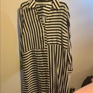INC long black and white striped blouse